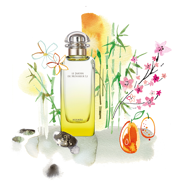 """FEMINA, 2016, illustration of the scent universe and ingredients of Hermes perfume """"Le jardin de Monsieur Li"""", photomontage of watercolor illustration and photography"""