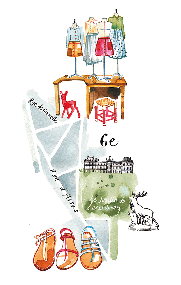 Madame Figaro, 2015, illustrated Map of a parisian district for their Paris city guide