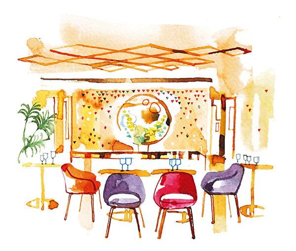 Madame Figaro, 2016, editorial illustration about Yeeels restaurant in Paris, watercolor