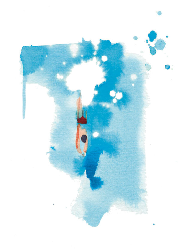 Madame Figaro, 2016, travel pages, watercolor illustration of swimming man