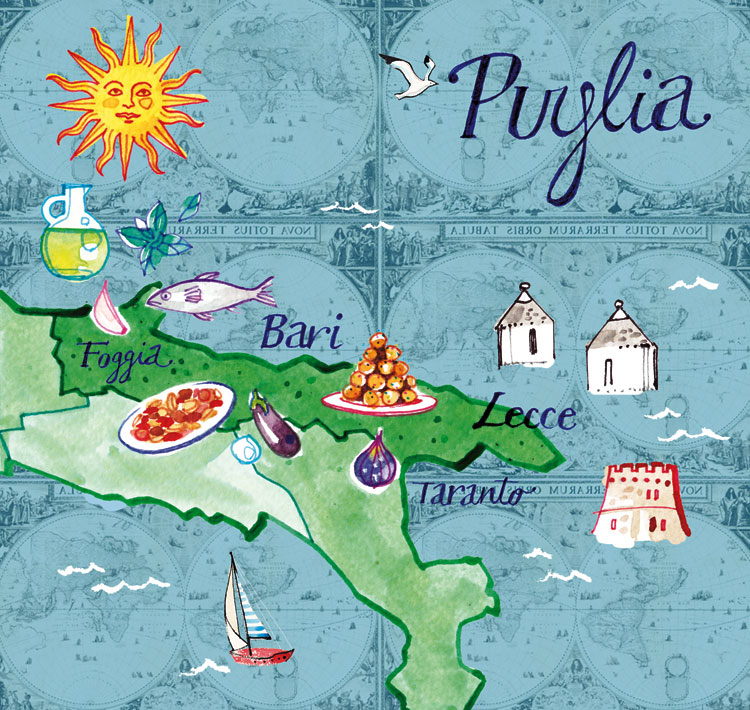 INEDIT publications, 2014, illustrated Map of Puglia region, Italy, watercolor on old map