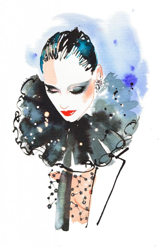 Saint Laurent catwalk look, fashion illustration, watercolor