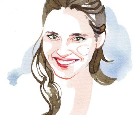 Madame Figaro, 2015, Virginie Ledoyen watercolor portrait illustration