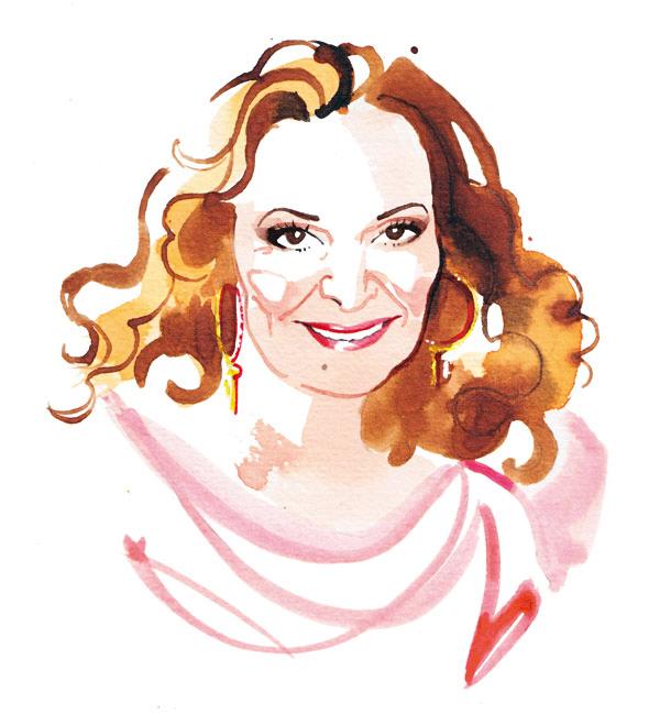 Madame Figaro, 2015, Diane von Furstenberg watercolor portrait illustration
