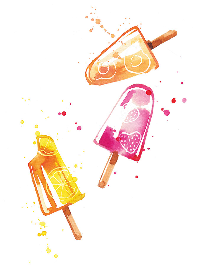 INEDIT Publications, 2016, ice lollies illustrating a recipe booklet, watercolor
