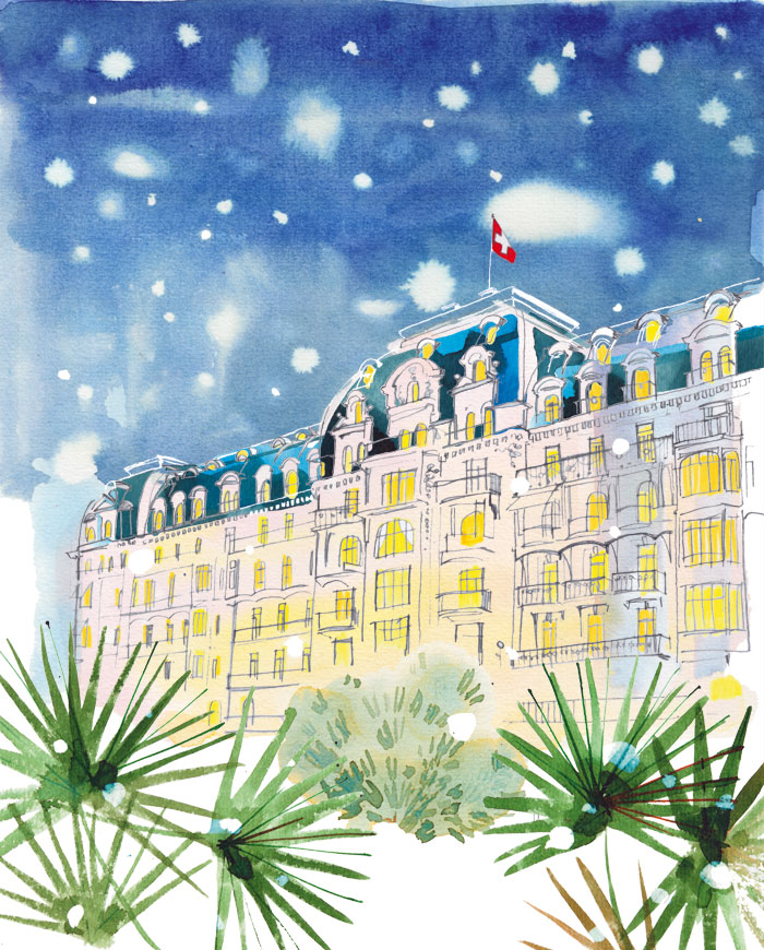 Fairmont Palace Hotel, Montreux, 2016, illustrated cover for the hotel magazine, watercolor