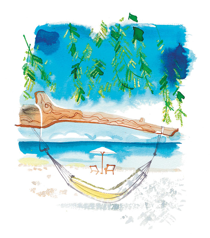 Madame Figaro, 2017, caribbean beach illustration for the travel pages, watercolor