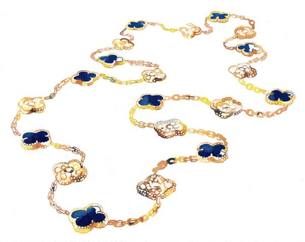 Madame Figaro, News/culte column 2018, Alhambra necklace by Van Cleef&Arpels, watercolor illustration