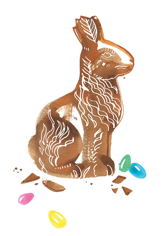 SonntagsZeitung newspaper, 2018, Chocolate Easter bunny illustration for the food column, watercolor
