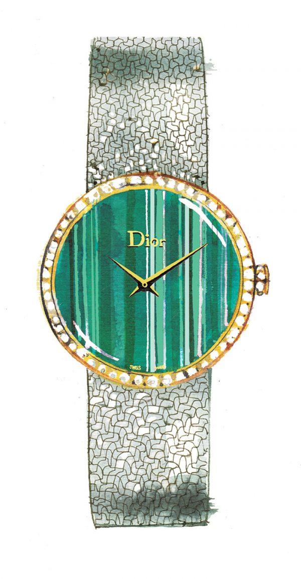 Madame Figaro News/culte column, 2018, Christian Dior watch, watercolor