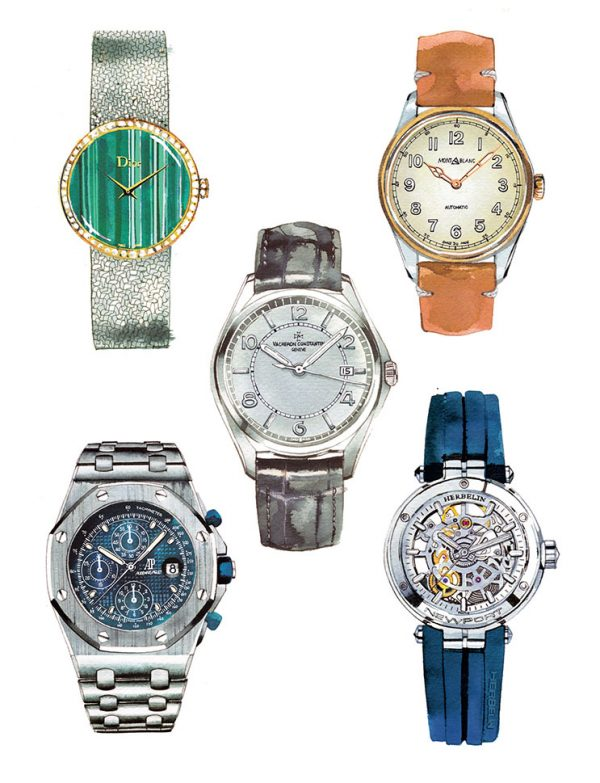 Madame Figaro magazine, News/culte column from 2017 to 2021, iconic watches, watercolor