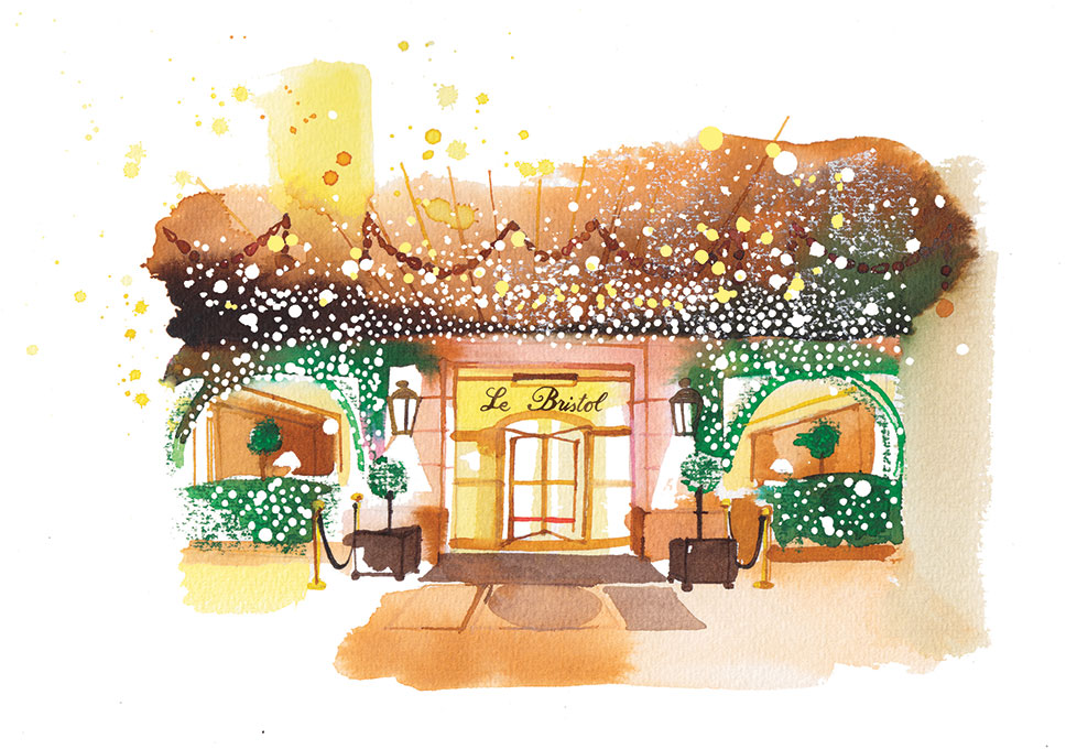 Madame Figaro CUISINE, 2017, watercolor illustration of Le Bristol Hotel, travel pages
