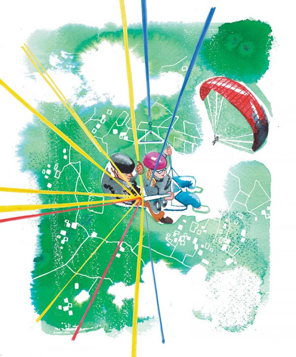"""DONNA magazine 2019, Paragliding – one of 5 illustrations for the article """"Traveling alone"""", watercolor"""