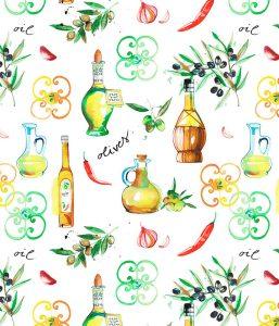 Olive oil pattern, textile design for Home furnishing