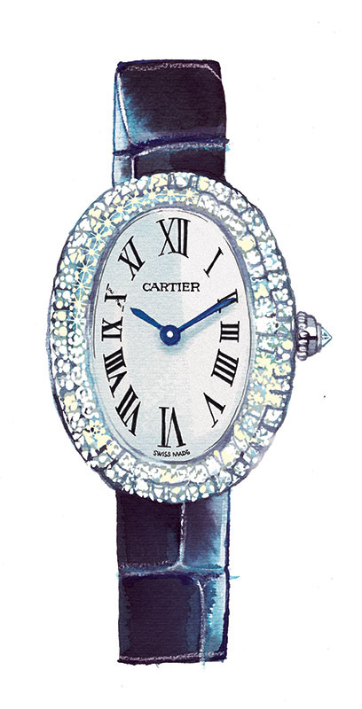 Madame Figaro, News/culte column 2019, Cartier watch, watercolor