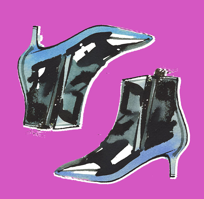 illustration of black patent ankle boots, watercolor
