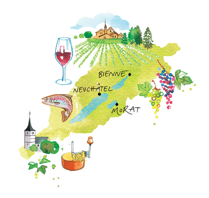 MIGUSTO magazine, 2019, illustrated Map of the 3 lakes Swiss region, famous for its good wine