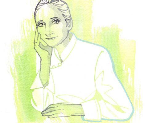 Anne Sophie Pic, watercolor portrait illustration