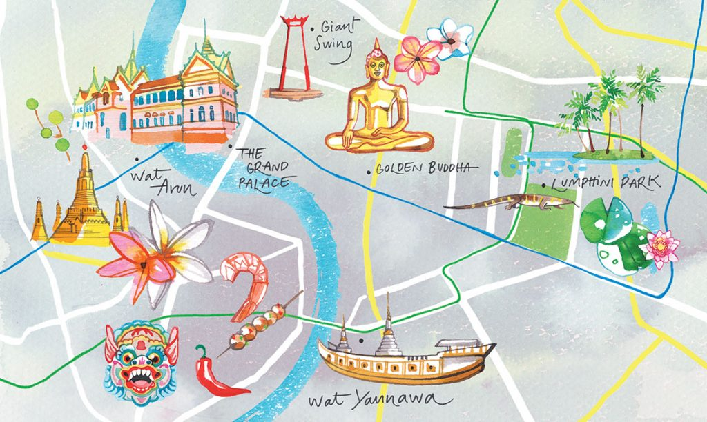 MIGUSTO magazine, 2019, illustrated Map of the restaurants district of Bangkok, Thailand