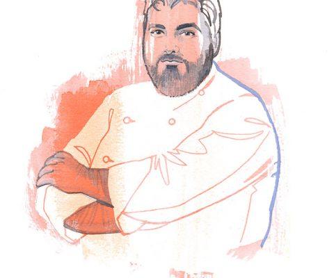 Antonino Cannavacciuolo, watercolor portrait illustration
