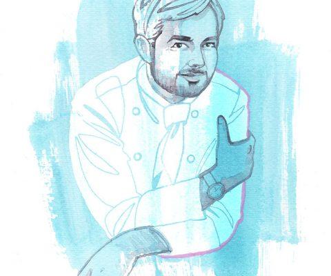 Jean-François Piege, watercolor portrait illustration