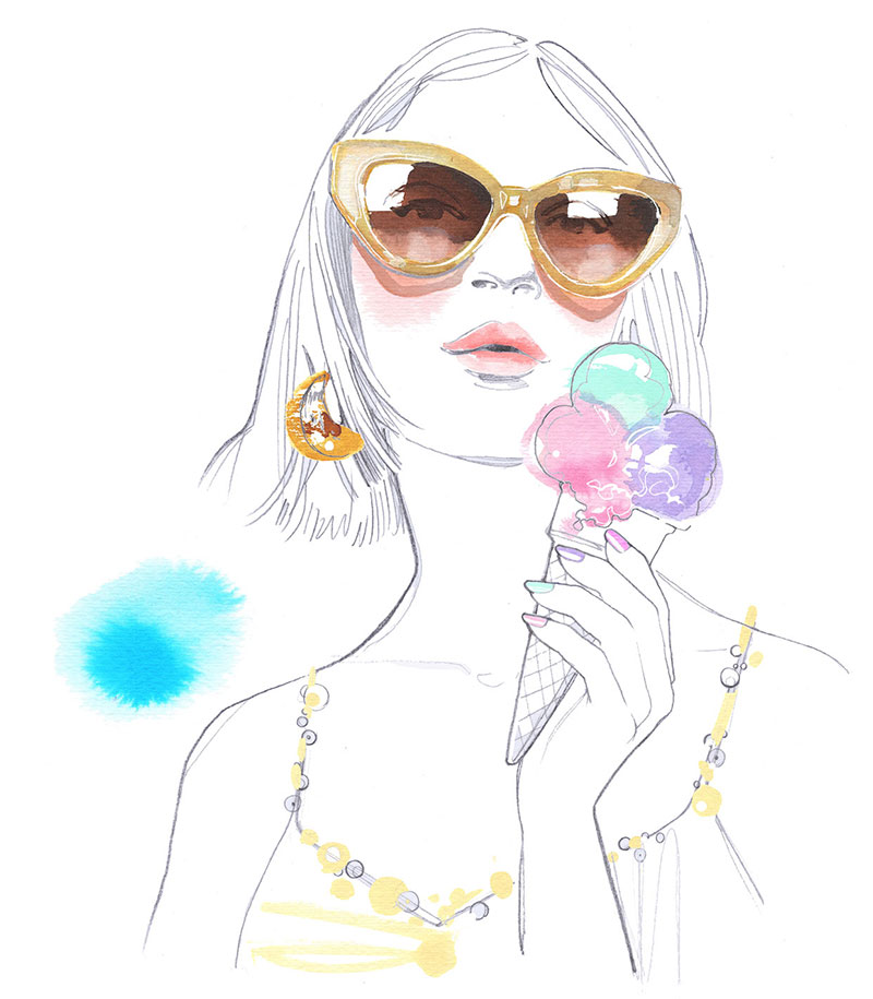 Migros Magazin, 2021, I've been asked to create this pencil and watercolor illustration for their beauty double page about nail varnish Summer colors Trends
