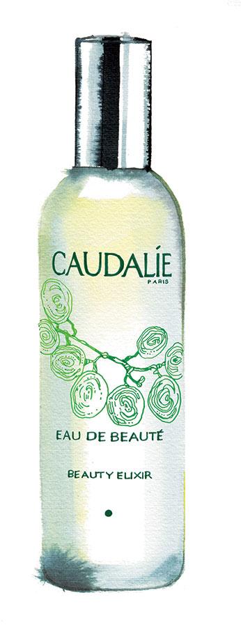 "Madame Figaro News/culte column, 2019, CAUDALIE cult product ""Eau de Beauté"" illustration"