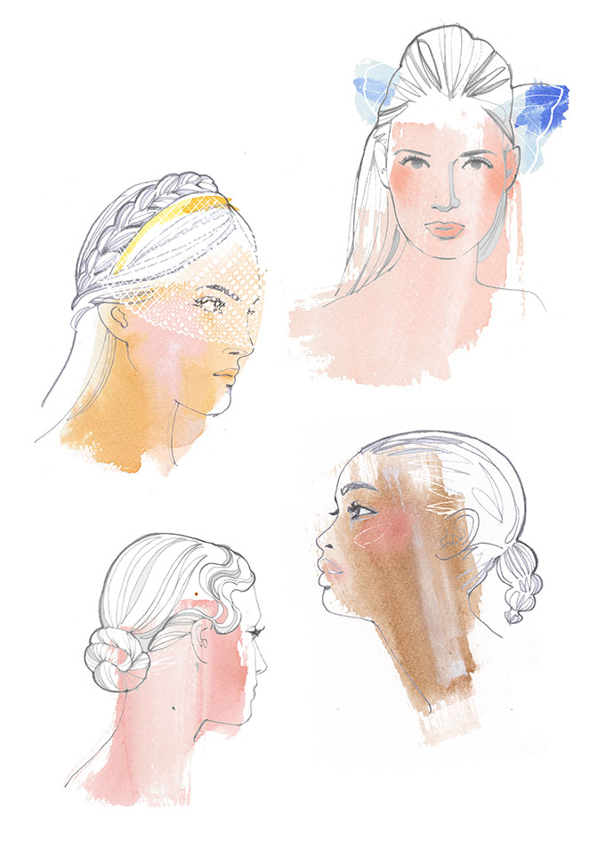 Ceremony hairstyles, watercolor and pencil illustration