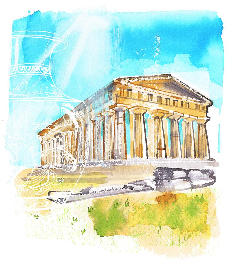 Paestum temple, travel illustration, watercolor