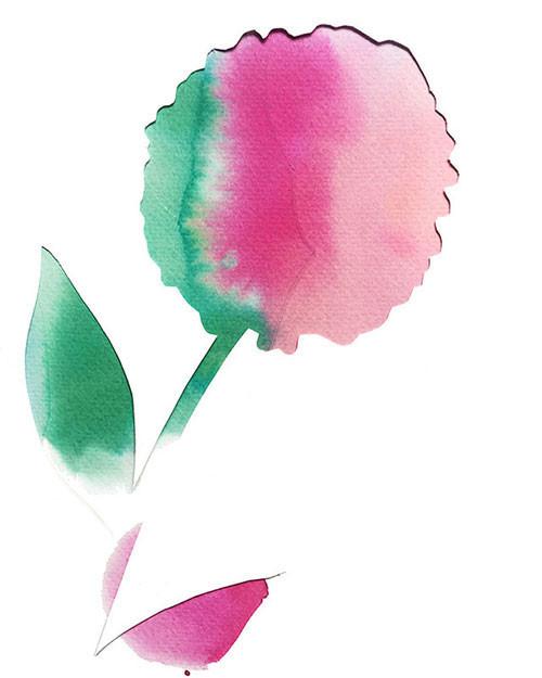 Cut out watercolor flower