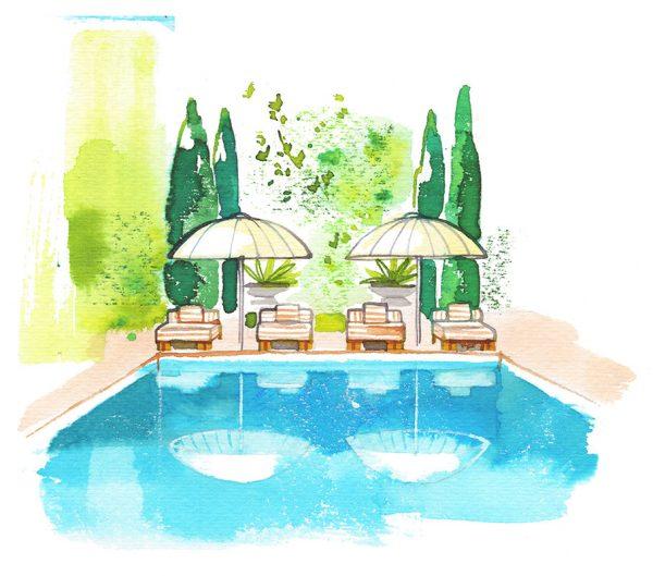 Swimming pool, travel illustration, watercolor