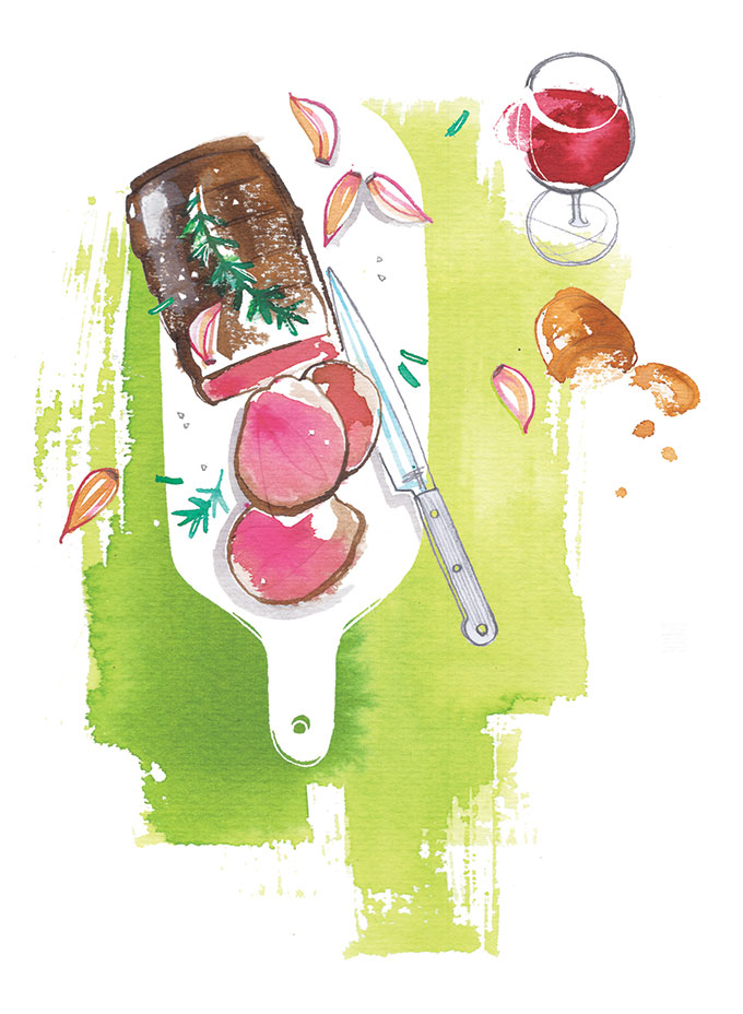Freundin magazine, 2020, food illustration of roast beef for their special pages about Summer recipes