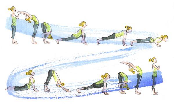 Sun salutation yoga exercise, watercolor illustration