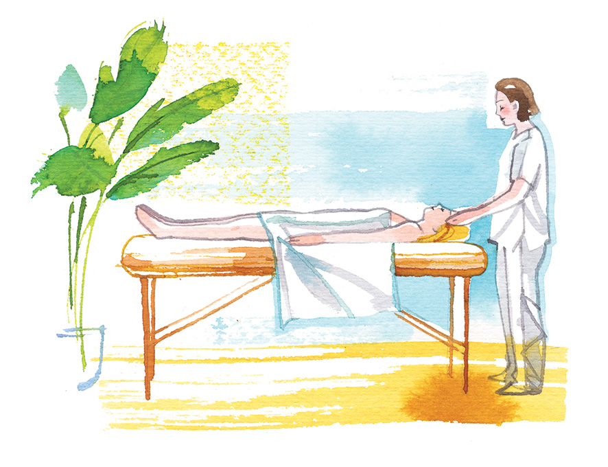Relaxing at the SPA, watercolor illustration