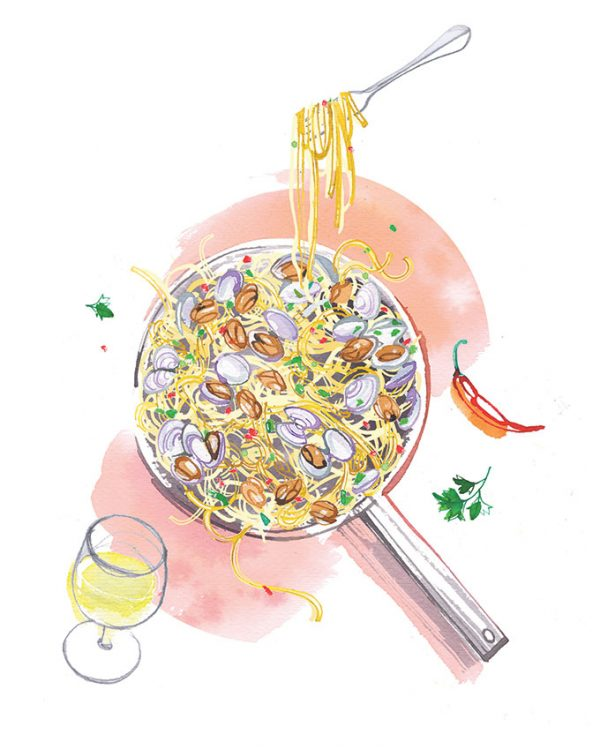 Freundin magazine, 2020, food illustration of spaghetti with clams for their special pages about Summer recipes
