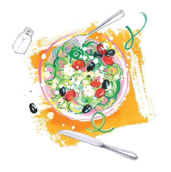 Freundin magazine, 2020, illustrated delicious summer recipes, Courgette spaghetti with feta