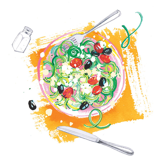 Freundin magazine, 2020, food illustration of courgettes spaghetti with feta for their special pages about Summer recipes