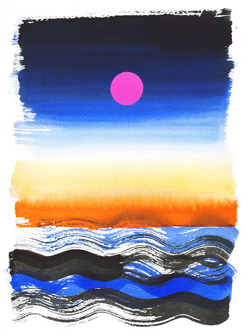 Cilento sea sunset, watercolor and collage illustration