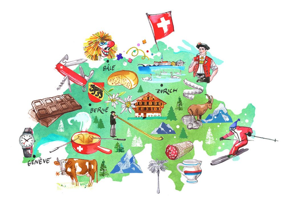 illustrated Map of Switzerland, watercolor