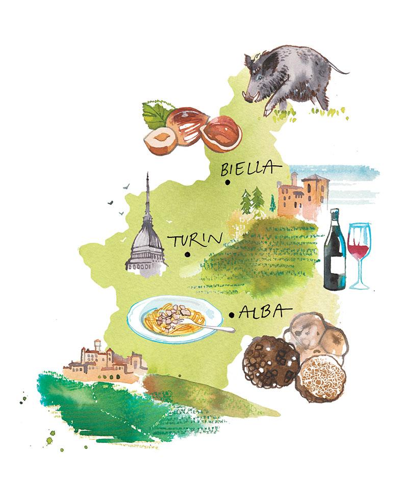 MIGUSTO magazine, 2020, illustrated Map of Piemonte region, Italy, watercolor