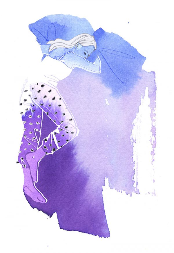 Sleeping beauty, series of 4 illustrations about sleeping positions