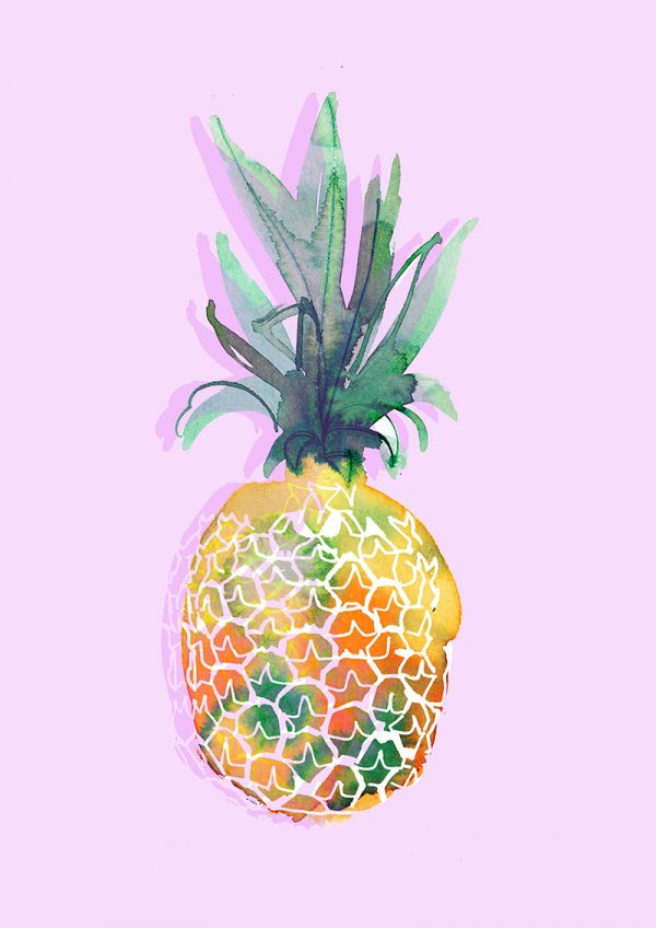 Pineapple in pink, watercolor food illustration