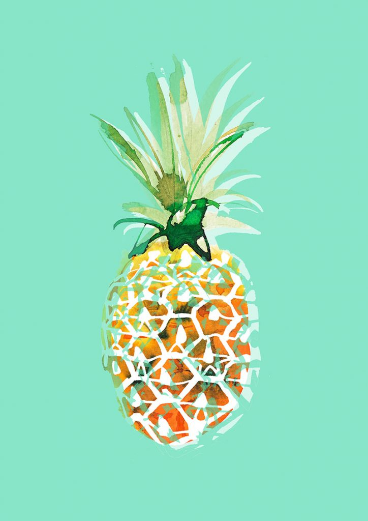 Pineapple in green, watercolor food illustration