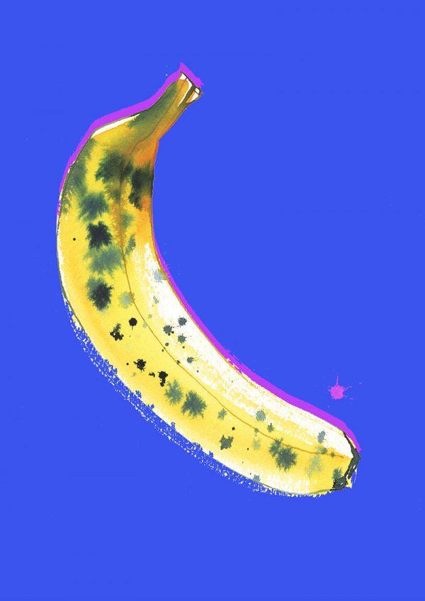 Blue banana, food illustration