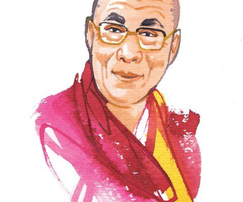 MIGUSTO 2019, Dalai Lama, watercolor portrait illustration