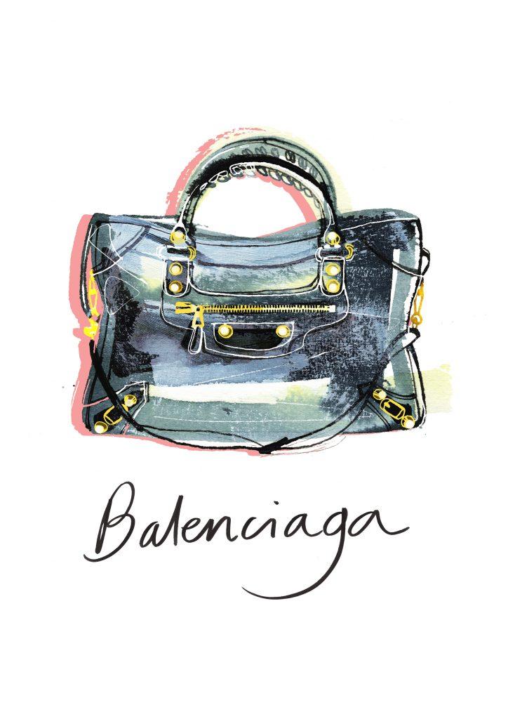 Balenciaga City bag, watercolor fashion illustration