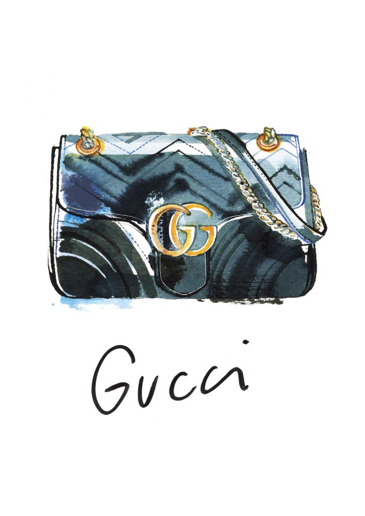Gucci Marmont bag, watercolor fashion illustration