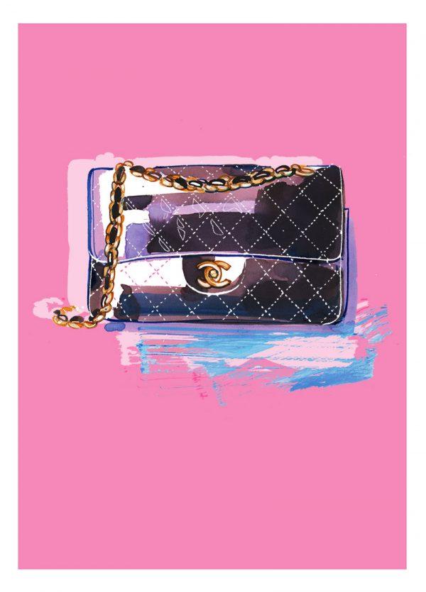 Chanel Classic flap bag, mixed media fashion illustration