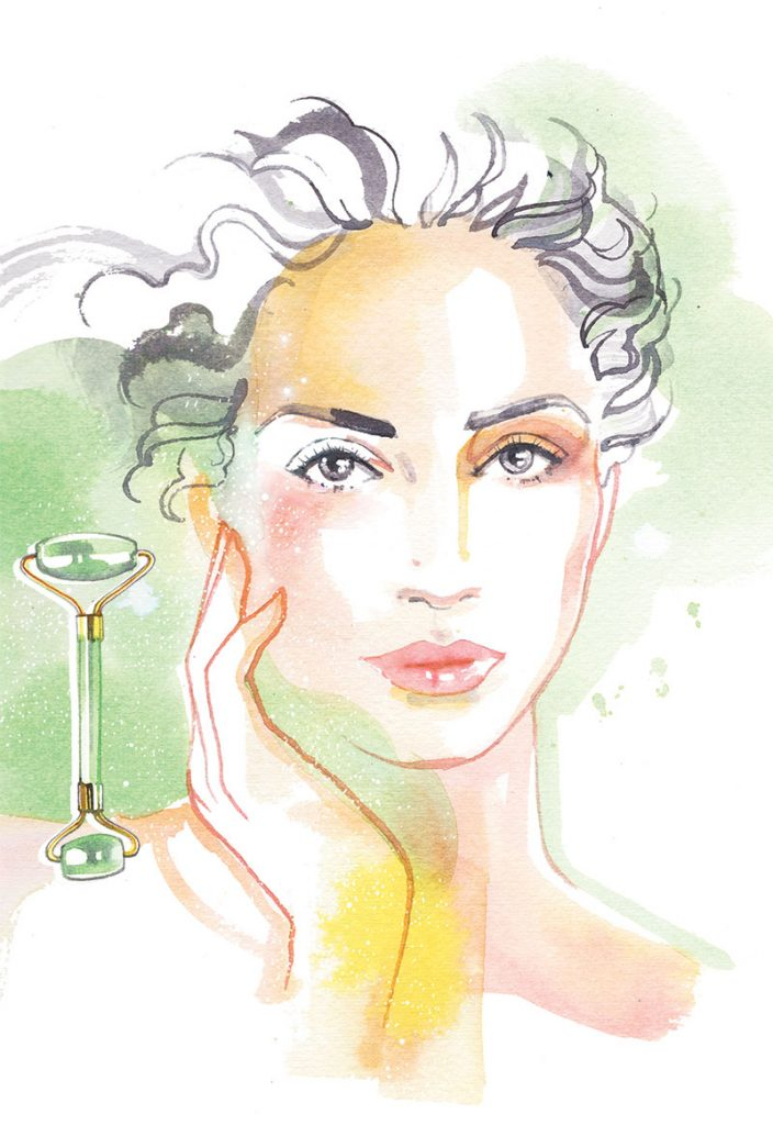 Migros Magazin, 2021, watercolour illustration about the glowing skin beauty trend