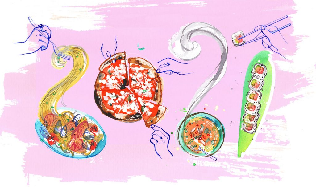 The taste of 2021! Watercolor and pen food illustration